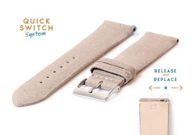 Horlogeband 22mm vintage beige leer