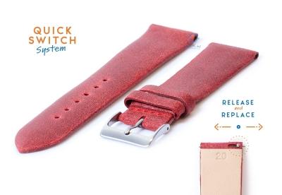 Horlogeband 20mm vintage rood leer