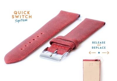 Horlogeband 22mm vintage rood leer