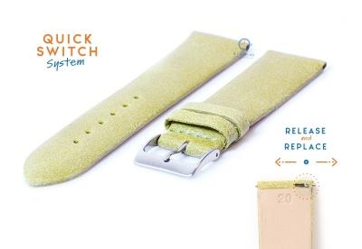 Horlogeband 20mm vintage groen leer