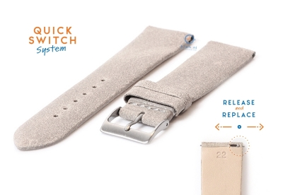 Horlogeband 22mm vintage grijs leer