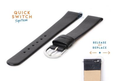 Horlogeband 16mm naadloos zwart leer
