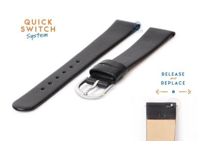 Horlogeband 18mm naadloos zwart leer