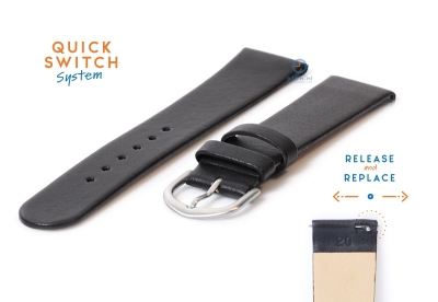 Horlogeband 20mm naadloos zwart leer