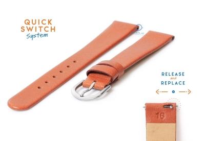 Horlogeband 16mm naadloos bruin leer