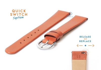 Horlogeband 18mm naadloos bruin leer