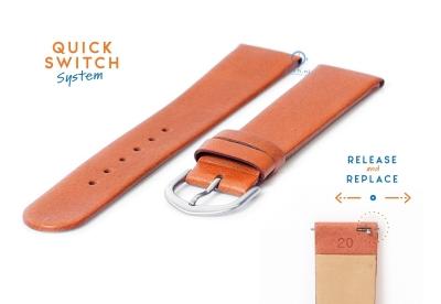 Horlogeband 20mm naadloos bruin leer