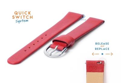 Horlogeband 16mm naadloos rood leer