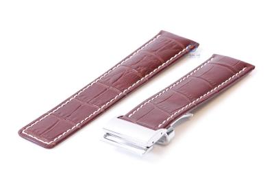 Breitling horlogeband 22mm leer bruin croco incl. vouwsluiting