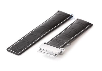 Breitling horlogeband 22mm leer zwart croco incl. vouwsluiting