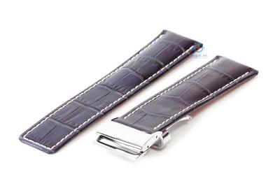 Breitling horlogeband 24mm leer blauw croco incl. vouwsluiting