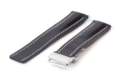 Breitling horlogeband 22mm leer zwart incl. vouwsluiting