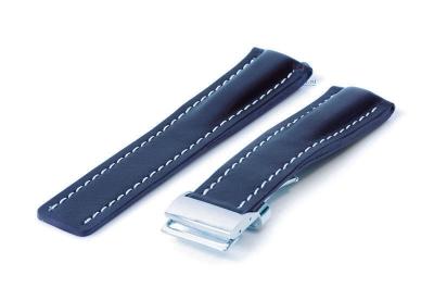 Breitling horlogeband 24mm leer blauw incl. vouwsluiting