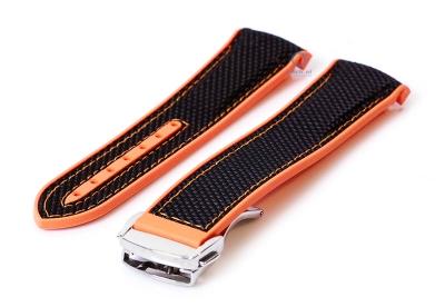 Omega seamaster horlogeband 22mm zwart oranje