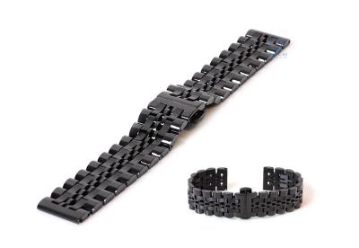 Horlogeband 20mm staal zwart glans/mat