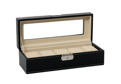 Leder horlogekist met slot voor 5 horloges - zwart