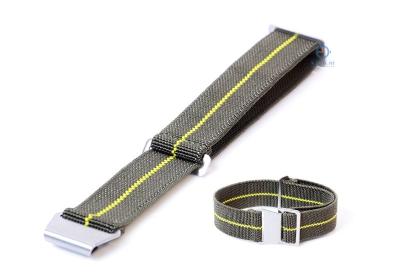 Elastische horlogeband 20mm nylon army groen - geel