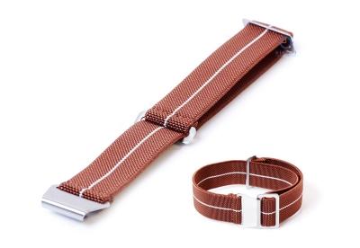Elastische horlogeband 20mm nylon bruin - wit