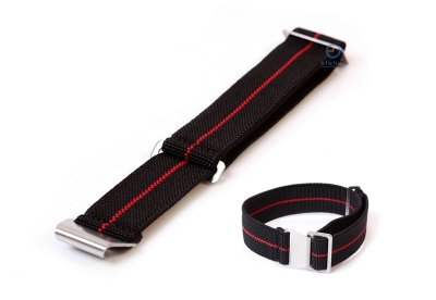 Elastische horlogeband 20mm nylon zwart - rood