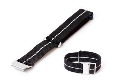 Elastische horlogeband 20mm nylon zwart - wit