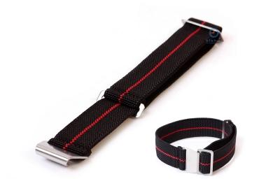 Elastische horlogeband 22mm nylon zwart - rood