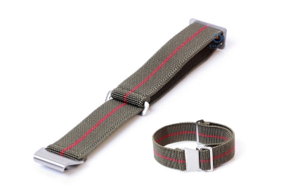 Elastische horlogeband 21mm nylon army groen - rood