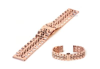 Horlogeband 20mm staal Rosegoud mat/glans