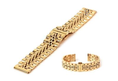Horlogeband 20mm staal goud mat/glans