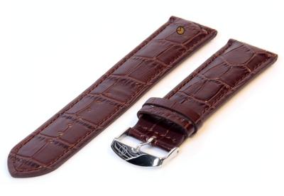 XL horlogeband 16mm leer donkerbruin croco