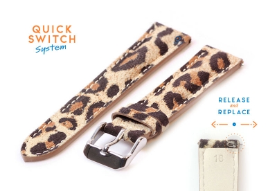 Horlogeband 18mm leopard print