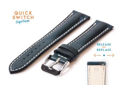 Horlogeband 18mm staalblauw leer
