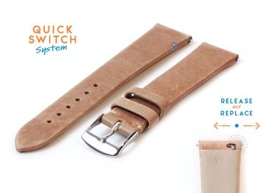 Horlogeband 16mm zandkleur leer