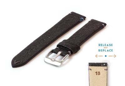 Vegan horlogeband 18mm zwart