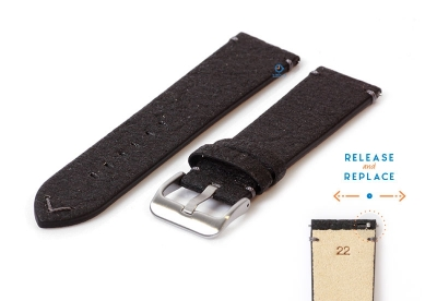 Vegan horlogeband 22mm zwart