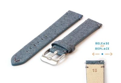 Vegan horlogeband 18mm blauw
