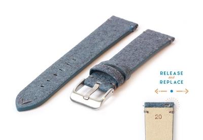 Vegan horlogeband 20mm blauw