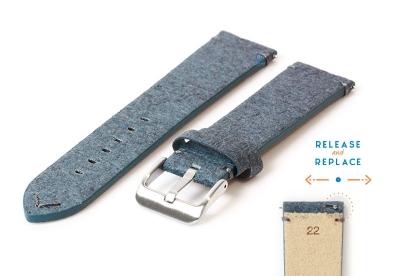 Vegan horlogeband 22mm blauw