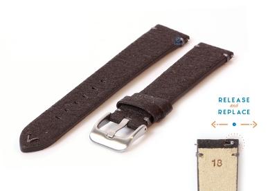 Vegan horlogeband 18mm donkerbruin