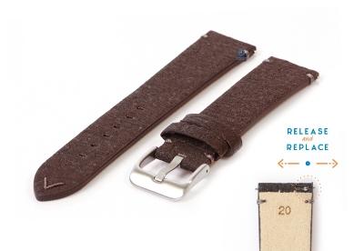 Vegan horlogeband 20mm donkerbruin