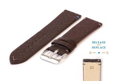 Vegan horlogeband 22mm donkerbruin