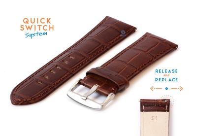 Horlogeband 24mm croco leer bruin