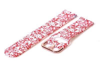 Siliconen horlogeband 20mm bloemenprint rood