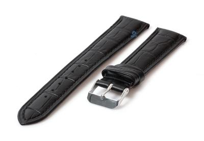Horlogeband 20mm croco leer zwart