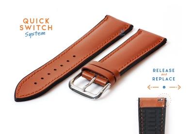 Horlogeband 22mm rubber met leren toplaag bruin
