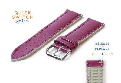 Horlogeband 22mm rubber met leren toplaag paars
