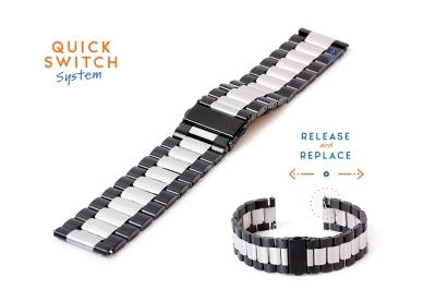 Horlogeband 22mm staal zilver/zwart - mat