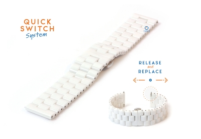 Horlogeband 22mm keramiek wit
