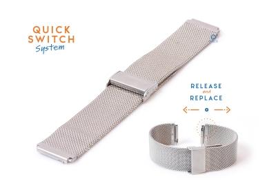 Horlogeband 18mm staal zilver milanees (fijn)
