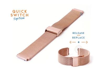 Horlogeband 18mm staal Rosegoud milanees (fijn)