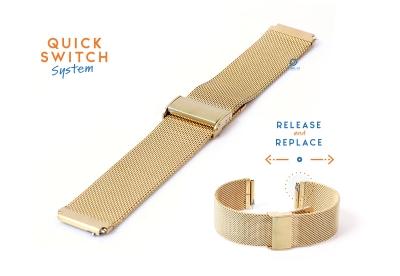 Horlogeband 18mm staal goud milanees (fijn)
